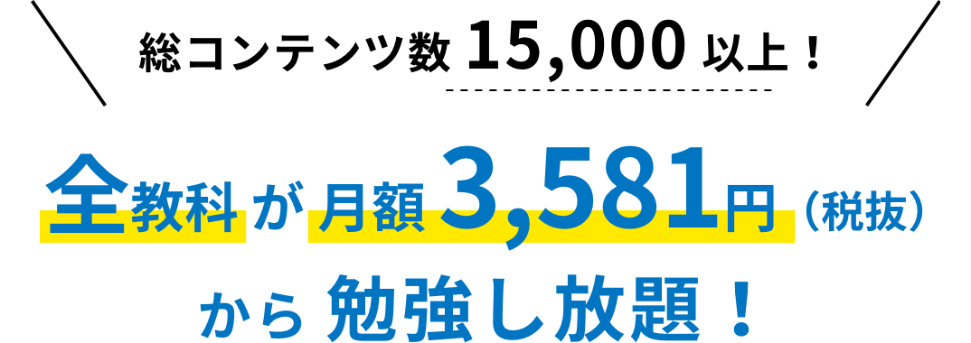 5つの教科 が 月額 3,581円(税抜)から 勉強し放題!